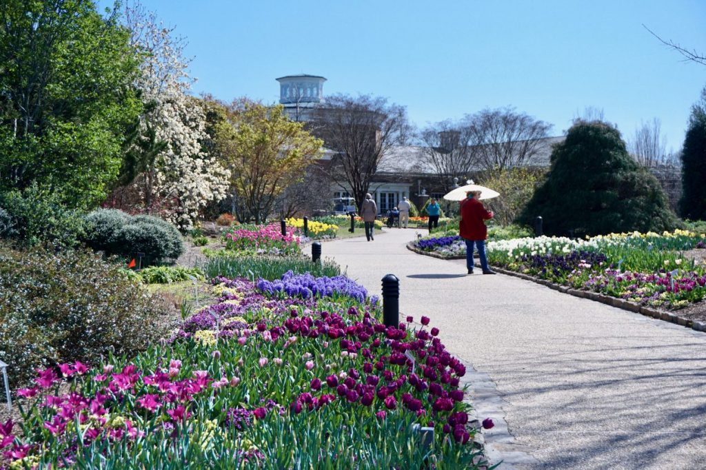 A winding path lined with tulips and other spring blooms with visitors walking through