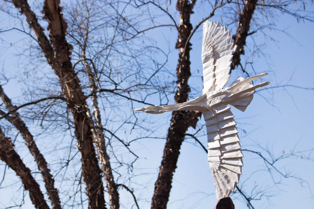Origami in the Garden sculpture. Image by Phuong Tran