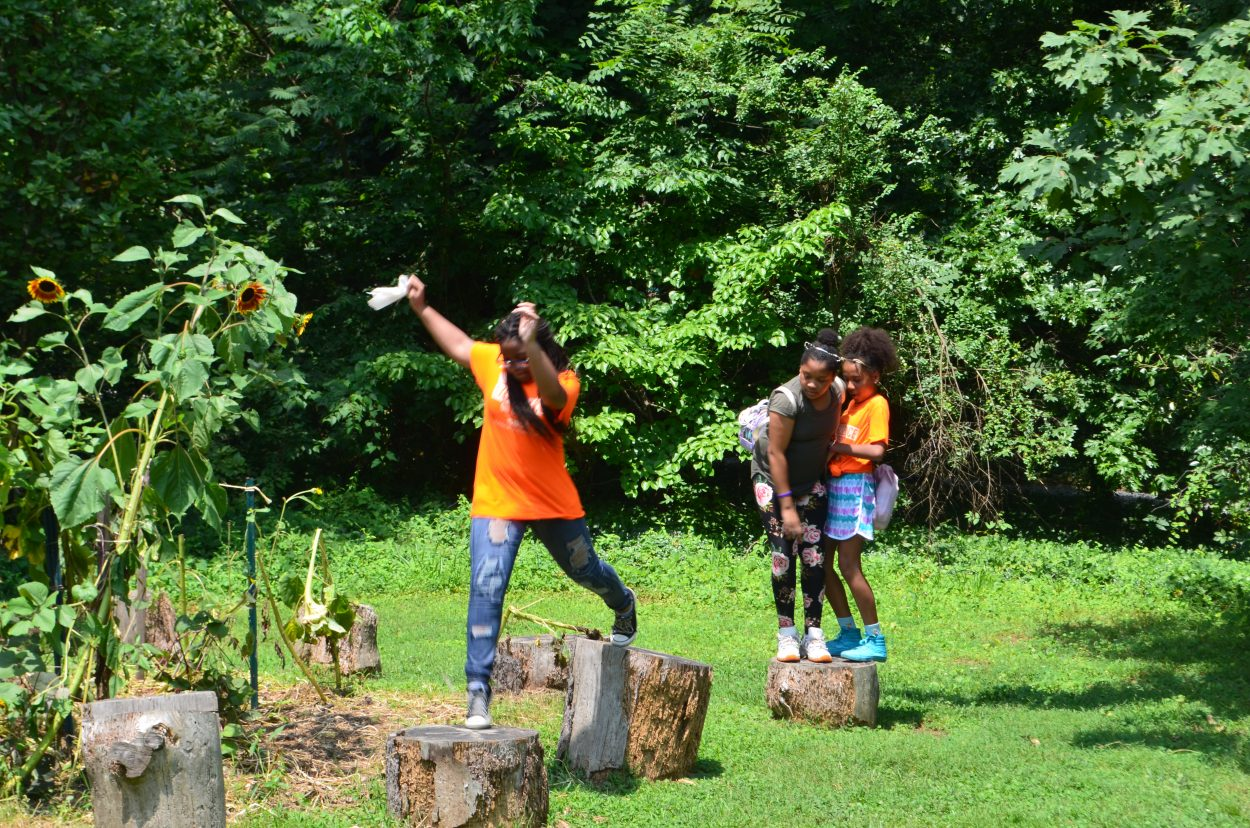 Image of three girls in orange T-shirts positioned across a circle of logs. One girl is shown stepping between two logs. To her right, the other two girls balance together on a second log.