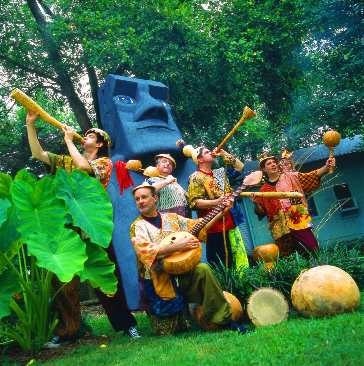 Richmond Indigenous Gourd Orchestra provides music as a back drop for lots of family fun. Here they are with their gourd instruments.