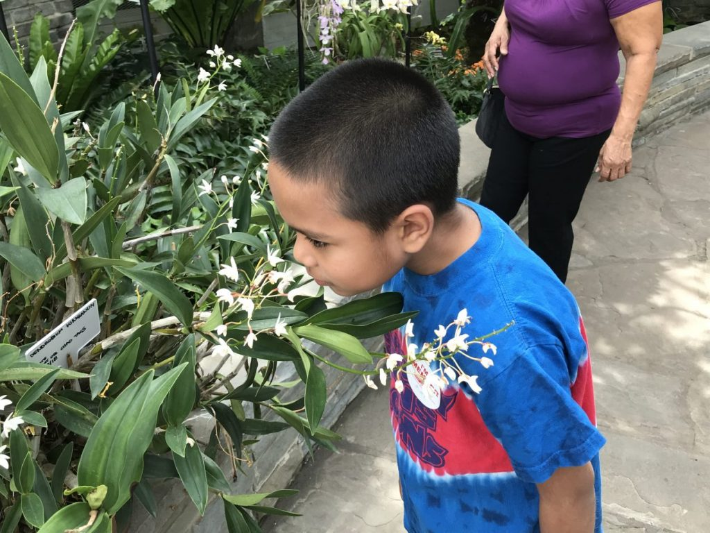 Brayden from World Pediatric Project touring the Garden