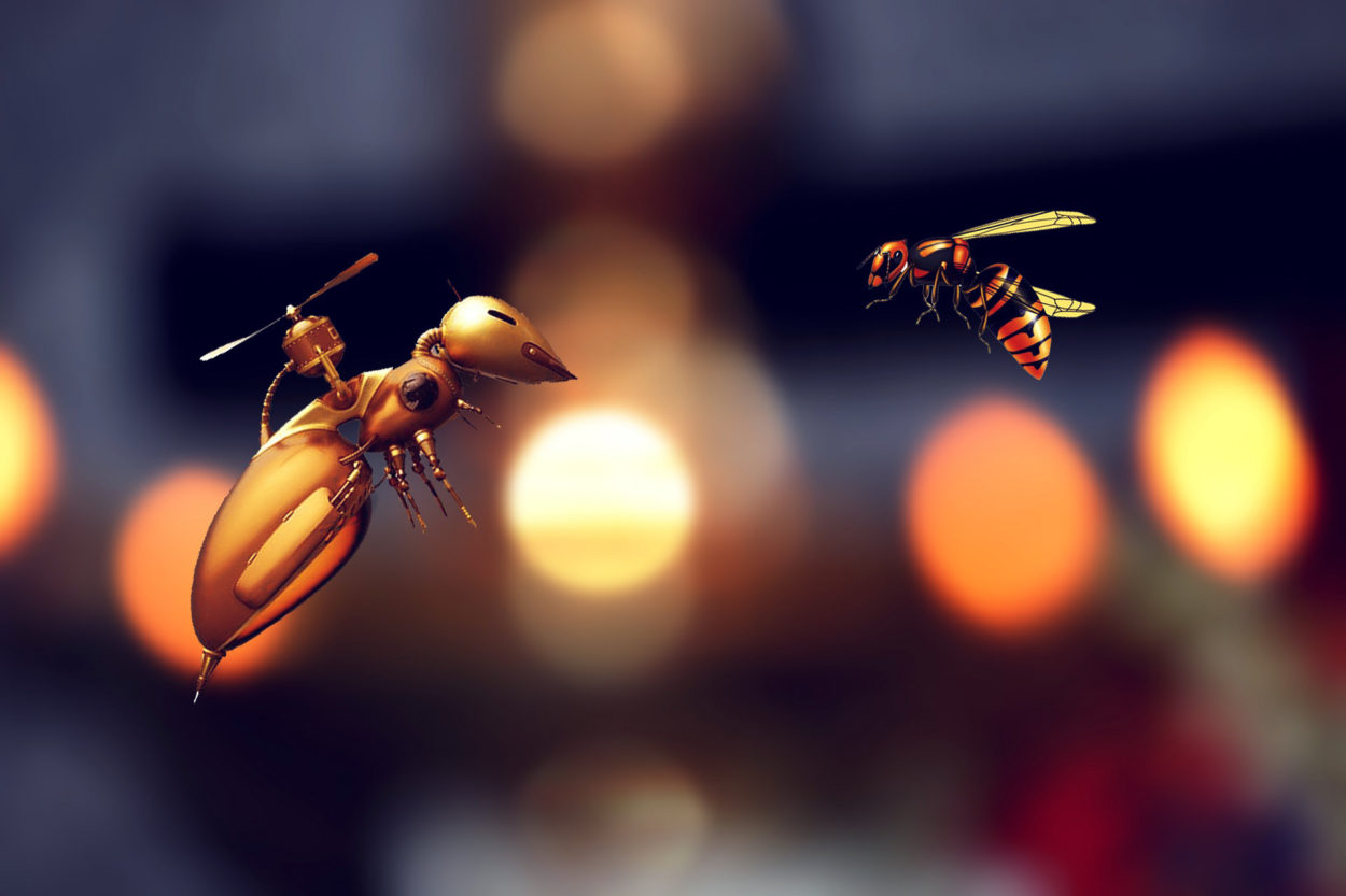 robotic bee faces real bee illustration