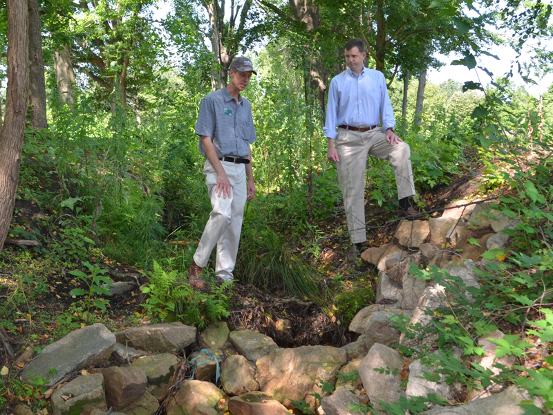 John Morse and James Beazley inspect the Glen Stream gully.