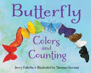 Multi-colored cover of Butterfly Colors and Counting for pollinator week.