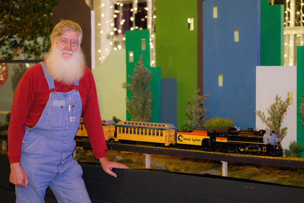 Mike Spence volunteers with the trains. Image by Harlow Chandler