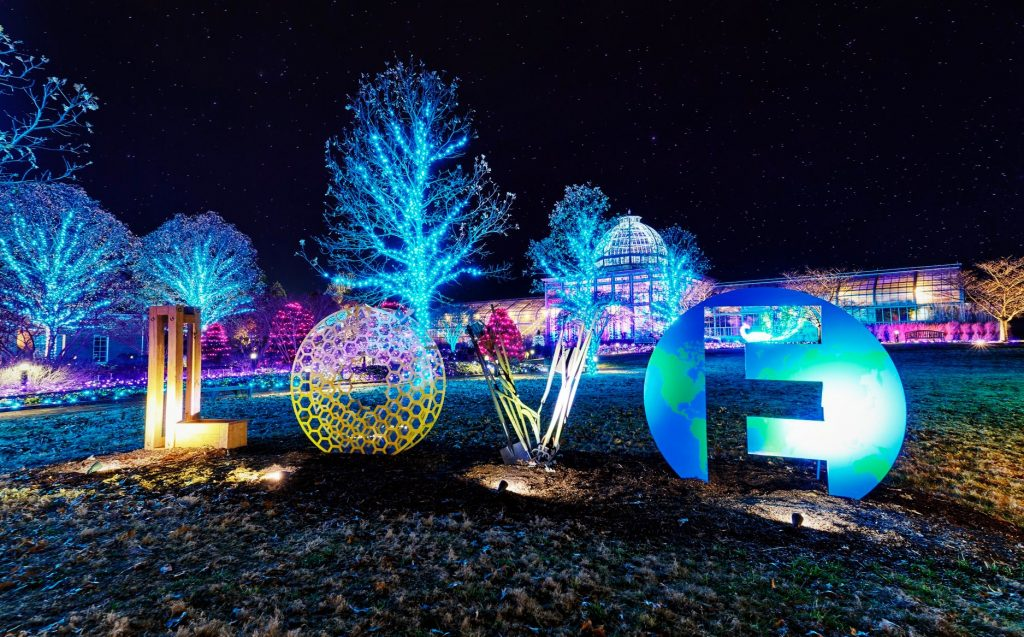 LOVE works lit at night for GardenFest. If you LOVE Lewis Ginter Botanical Garden donate to support our mission. Image by James Loving