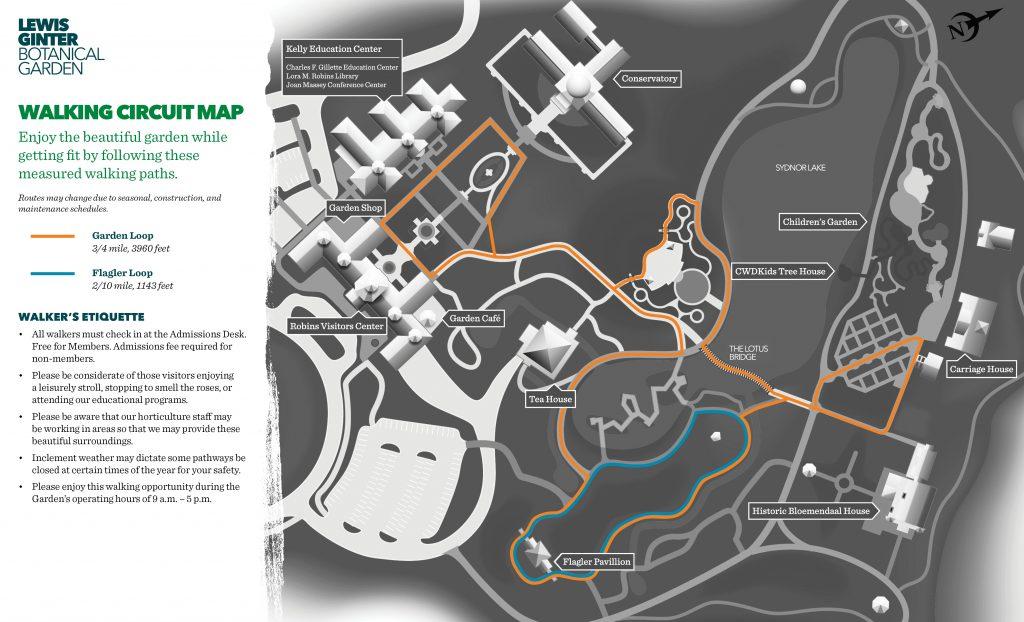 Walking trails map at Lewis Ginter Botanical Garden
