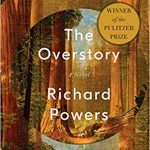 Book cover of The Overstory by Richard Powers; illustrations of redwoods are layered in concentric circles