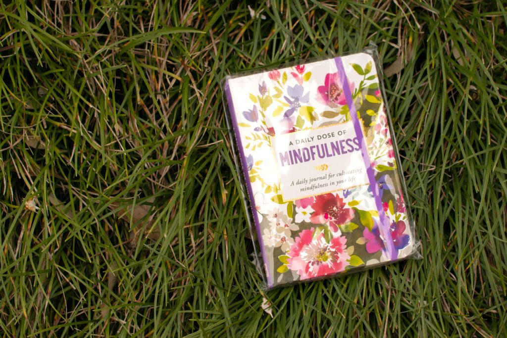 "flowery notebook that reads, ""A Daily Dose of Mindfulness, A daily journal for cultivating mindfulness in your life"" laying on grass"
