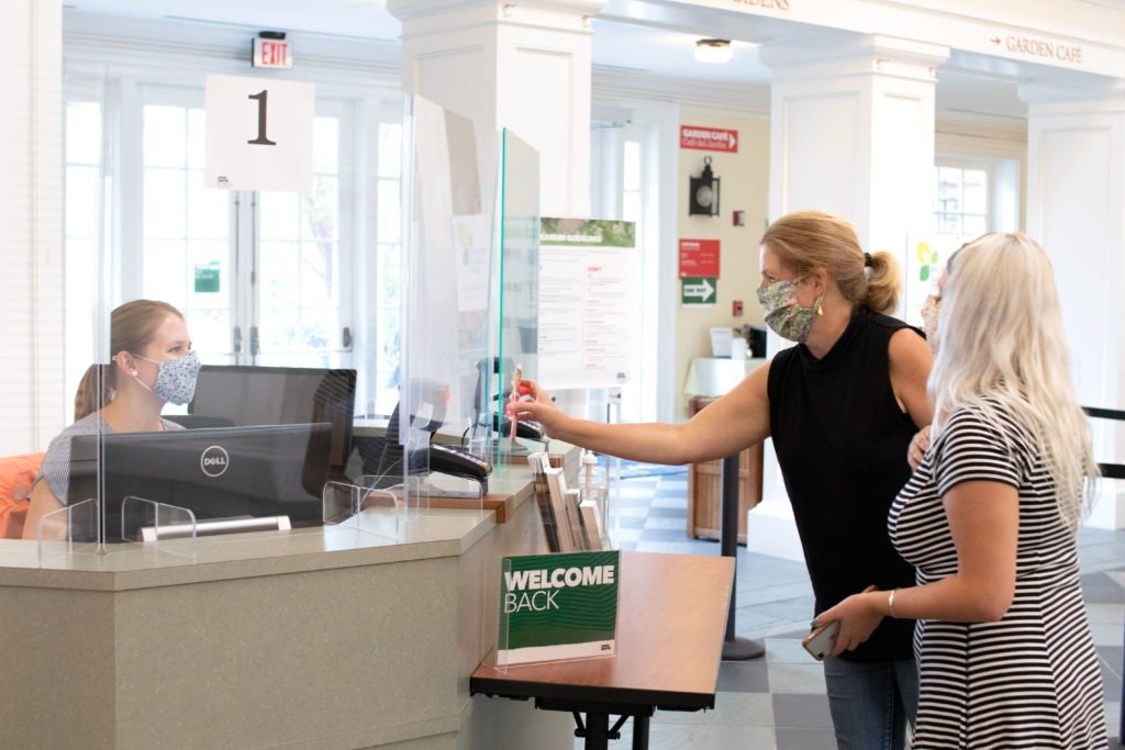 Visitors self-scanning tickets