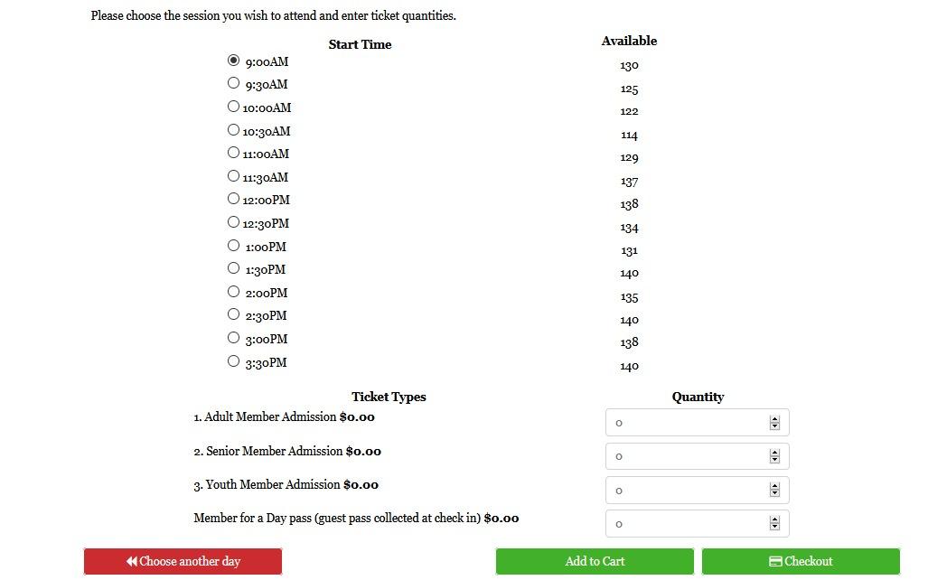Screenshot showing time slots