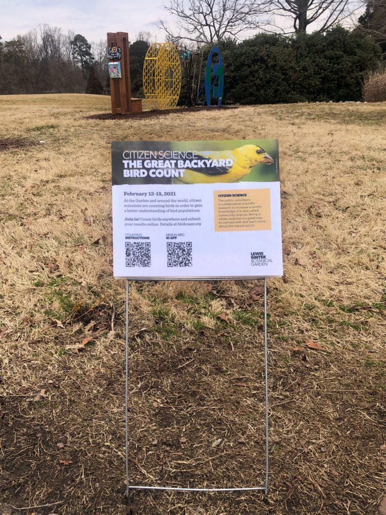 Great Backyard Bird Count sign at Lewis Ginter Botanical Garden
