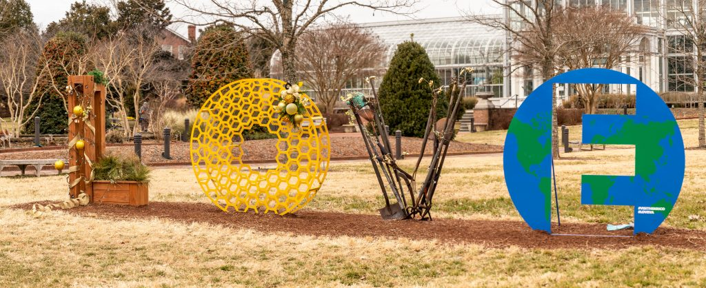 Giant Love Letters made out of Garden tools at Lewis Ginter Botanical Garden. Image by Tom Hennessy