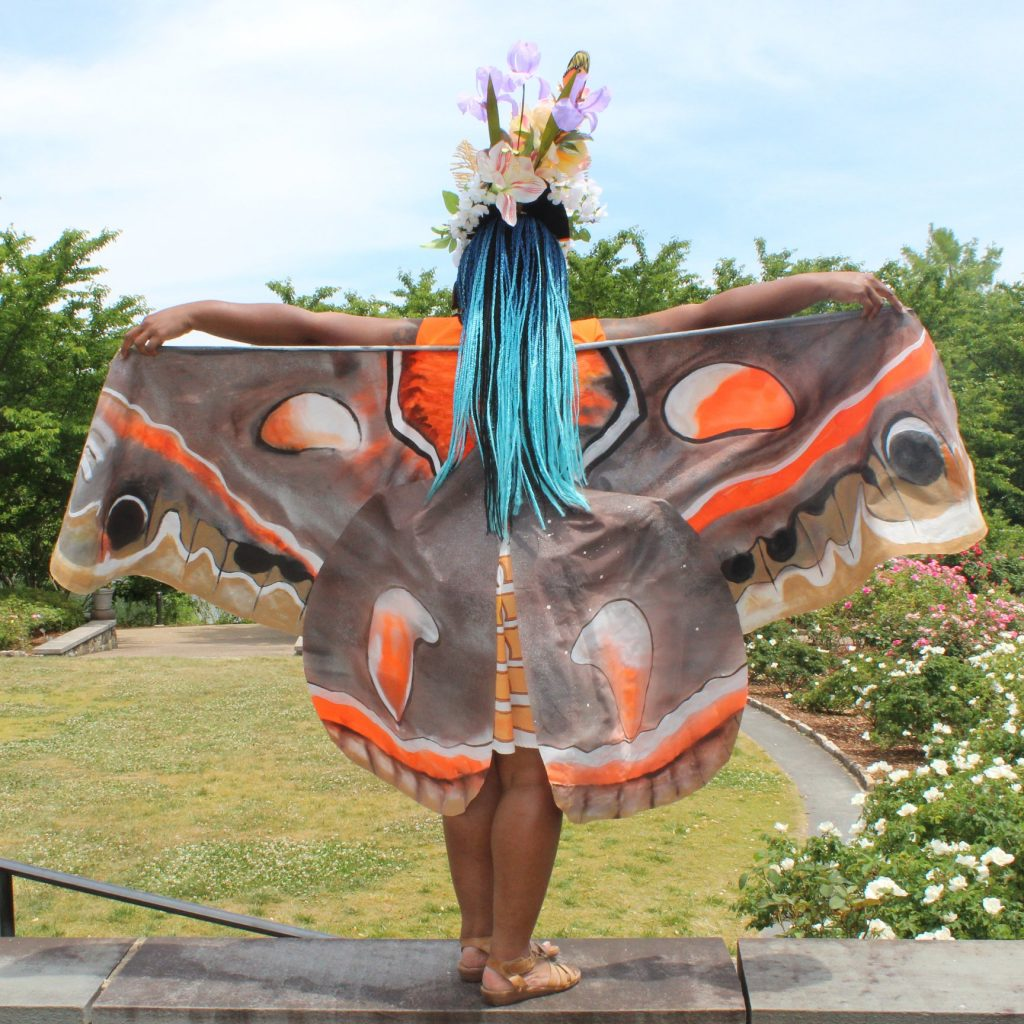 Unicia Buster, Lewis Ginter Botanical Garden artist in residence as a moth