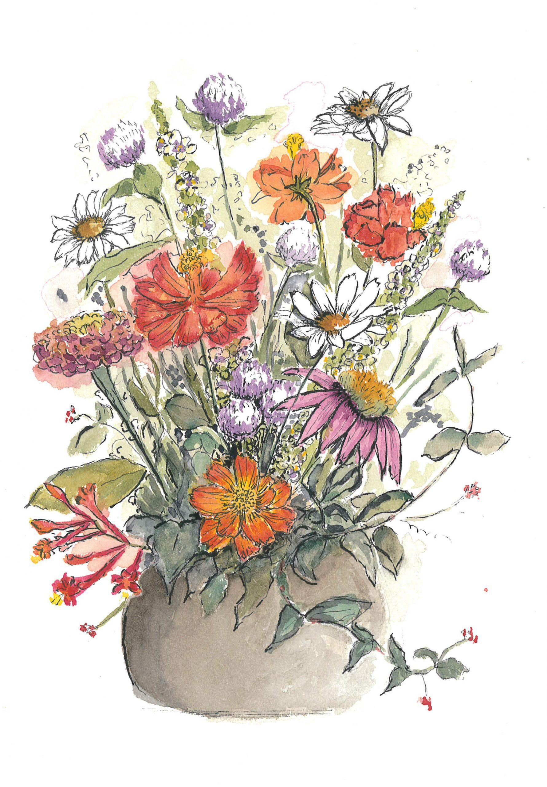LIz Hamrick flower art in watercolor