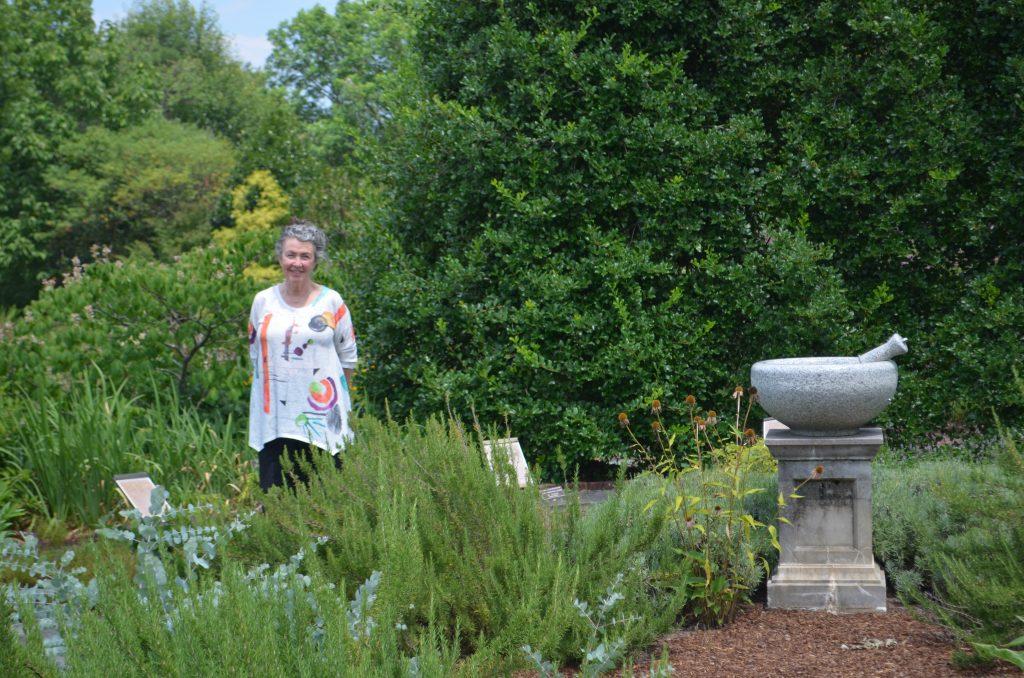 Liz Hambrick standing in the Healing Garden at Lewis Ginter Botanical Garden. Image by Jonah Holland