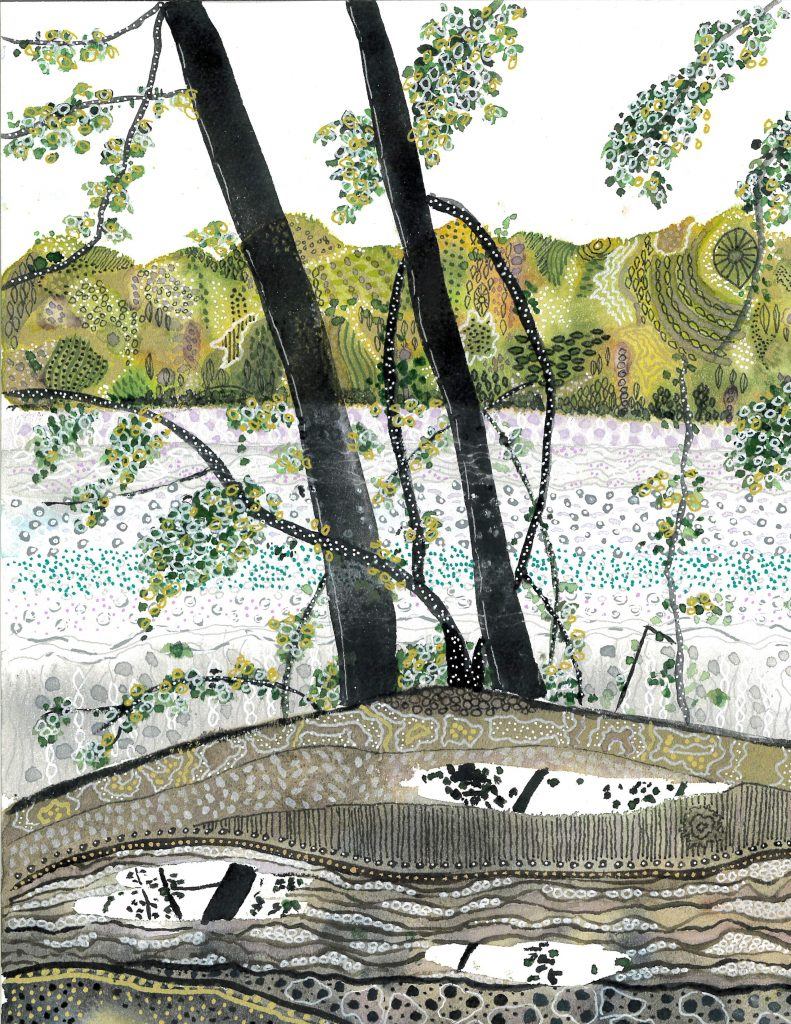 River Scene in doodle and watercolor by Liz Hambrick