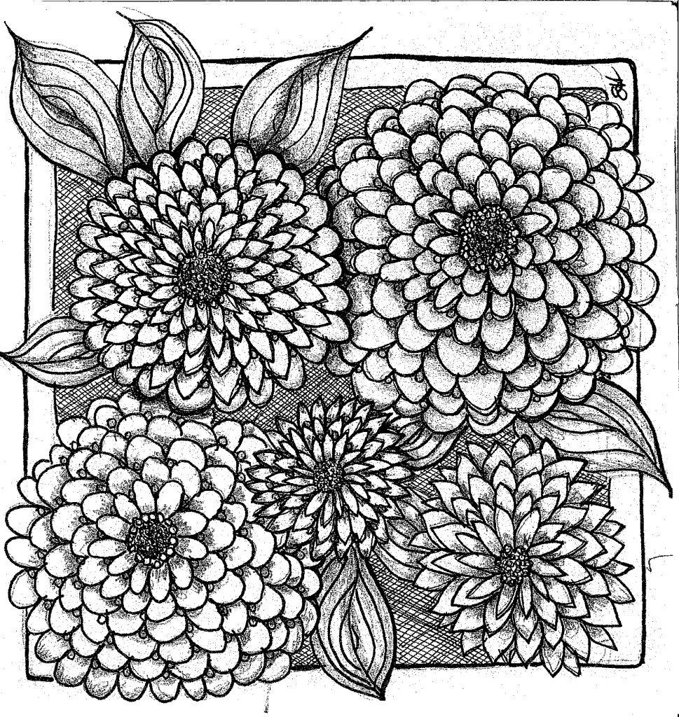 Chrysanthamums in black and white Zentangle Healing art. Art by Liz Hambrick