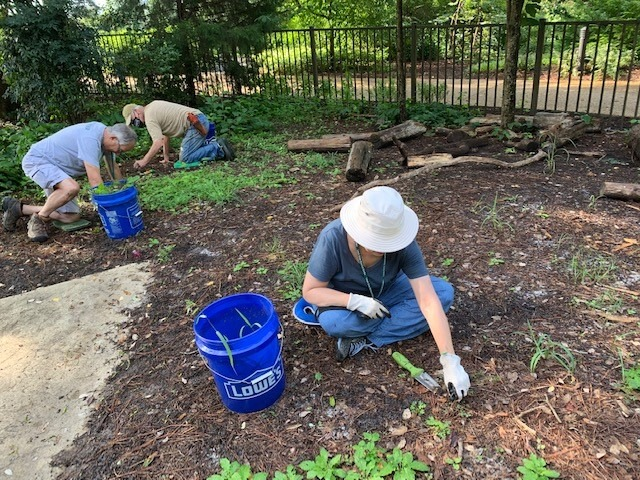 Volunteers weeding in the Children's Garden are making a difference.